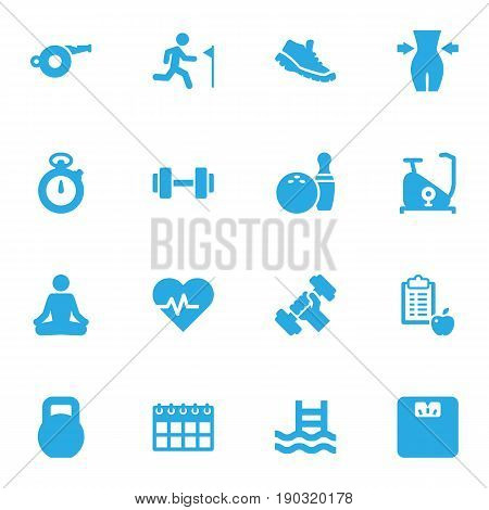 Set Of 16 Fitness Icons Set.Collection Of Body Balance, Blower, Kegling And Other Elements.