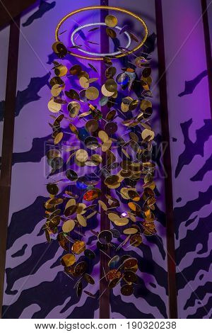 gold decoration in interior a night club