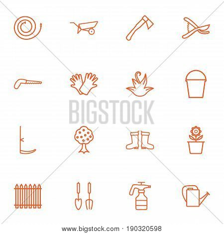 Set Of 16 Farm Outline Icons Set.Collection Of Atomizer, Waterproof Shoes, Arm-Cutter And Other Elements.