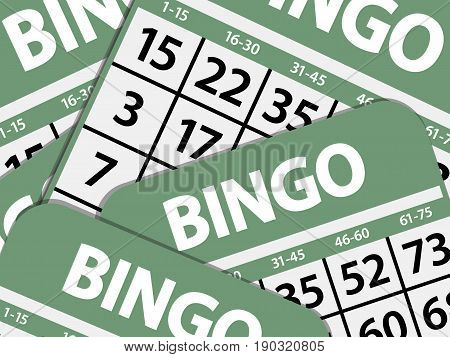 Green Bingo Cards Landscape Background with Shadows