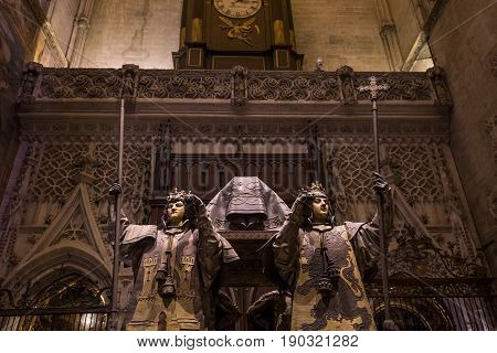 Tomb Of Christopher Columbus, Seville Cathedral, Seville, Spain