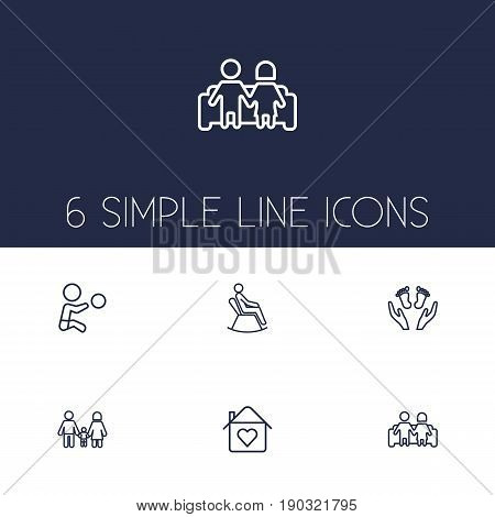 Set Of 6 Family Outline Icons Set.Collection Of Couple, Home, Family And Other Elements.