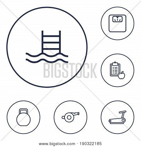 Set Of 6 Fitness Outline Icons Set.Collection Of Diet, Whistle, Kettlebells And Other Elements.
