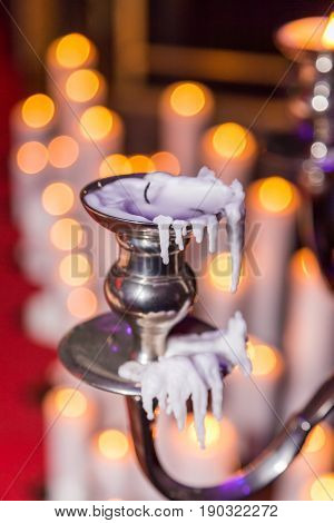 Candle Holder With Burning Candle On Background
