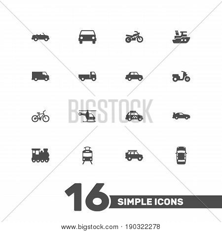Set Of 16 Shipping Icons Set.Collection Of Boat, Motorbike, Hatchback And Other Elements.