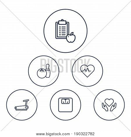 Set Of 6 Bodybuilding Outline Icons Set.Collection Of Diet, Scales, Health Care And Other Elements.