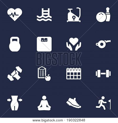 Set Of 16 Fitness Icons Set.Collection Of Basin, Kegling, Heart In Hand Elements.