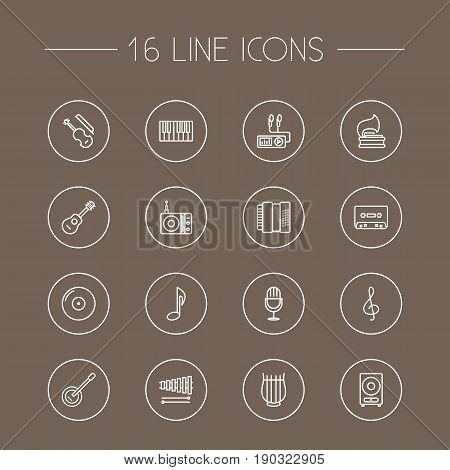 Set Of 16 Melody Outline Icons Set.Collection Of Acoustic, Record, Amplifier And Other Elements.