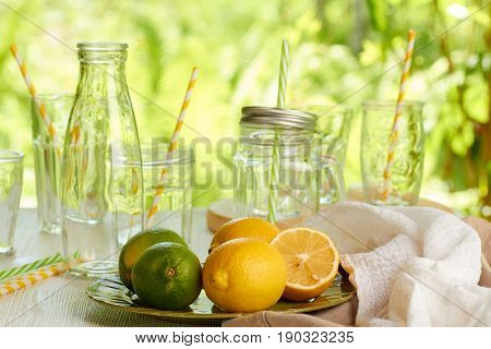 Limes and lemons for summer drinks preparation. Sunshine outdor background