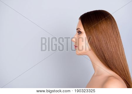 Close Up Cropped Profile Portrait Of Young Pretty Lady With Smooth Skin And Healthy Brown Hair, On P