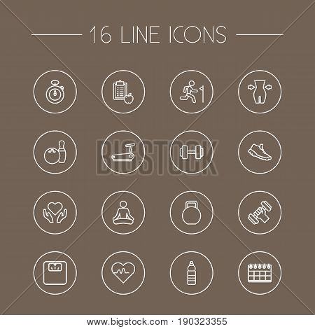 Set Of 16 Fitness Outline Icons Set.Collection Of Calendar, Pulse, Health Care And Other Elements.