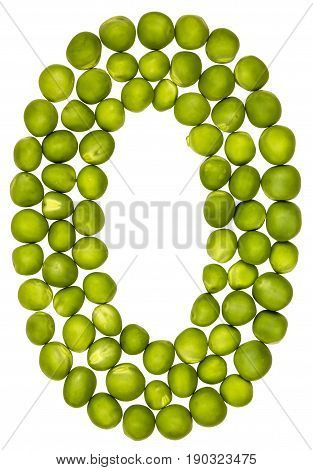 Arabic Numeral 0, Zero, From Green Peas, Isolated On White Background
