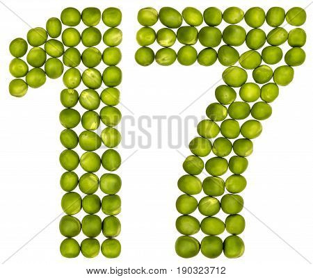 Arabic Numeral 17, Seventeen, From Green Peas, Isolated On White Background