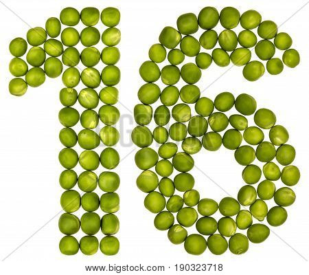 Arabic Numeral 16, Sixteen, From Green Peas, Isolated On White Background