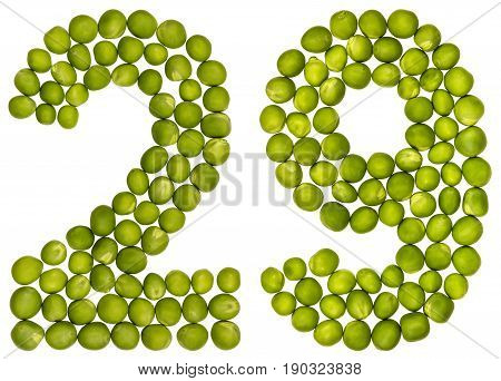 Arabic Numeral 29, Twenty Nine, From Green Peas, Isolated On White Background