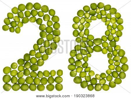 Arabic Numeral 28, Twenty Eight, From Green Peas, Isolated On White Background