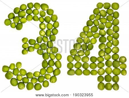 Arabic Numeral 34, Thirty Four, From Green Peas, Isolated On White Background