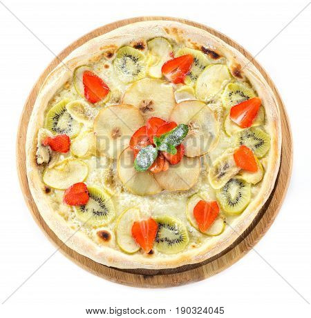 Fruit pizza over white background view from above
