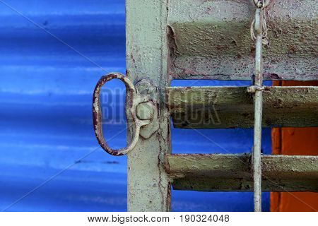 Metal Venetian Blind And   Blue   In La Boca Buenos Aires