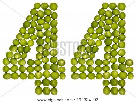 Arabic Numeral 44, Forty Four, From Green Peas, Isolated On White Background