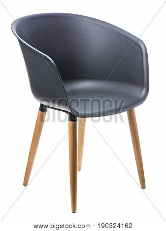 Modern design black chair over white background