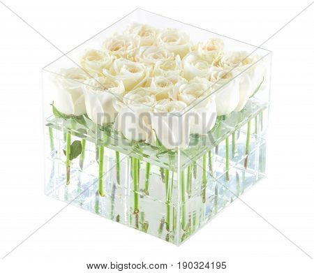 Bunch of white roses in container with clipping path