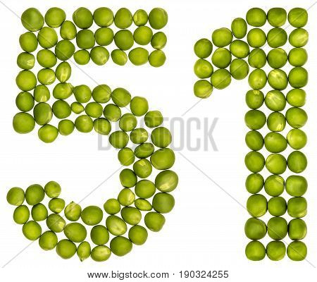 Arabic Numeral 51, Fifty One, From Green Peas, Isolated On White Background