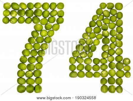 Arabic Numeral 74, Seventy Four, From Green Peas, Isolated On White Background