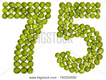 Arabic Numeral 75, Seventy Five, From Green Peas, Isolated On White Background