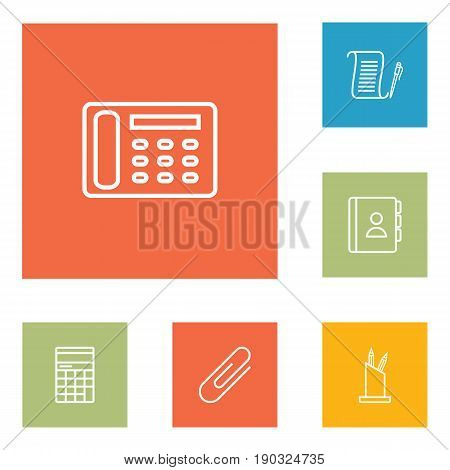 Set Of 6 Cabinet Outline Icons Set.Collection Of Fastener Paper, Agreement, Contacts And Other Elements.