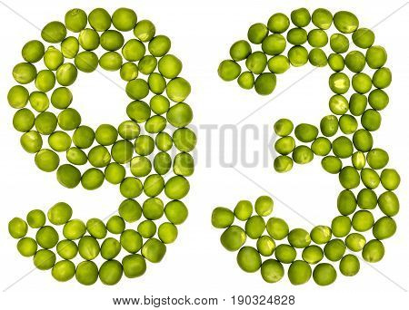 Arabic Numeral 93, Ninety Three, From Green Peas, Isolated On White Background