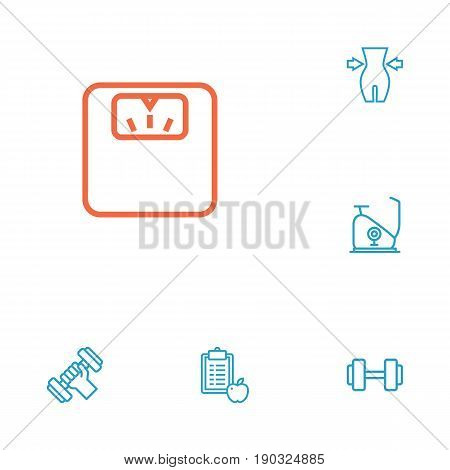 Set Of 6 Fitness Outline Icons Set.Collection Of Exercise Bike, Diet, Workout And Other Elements.