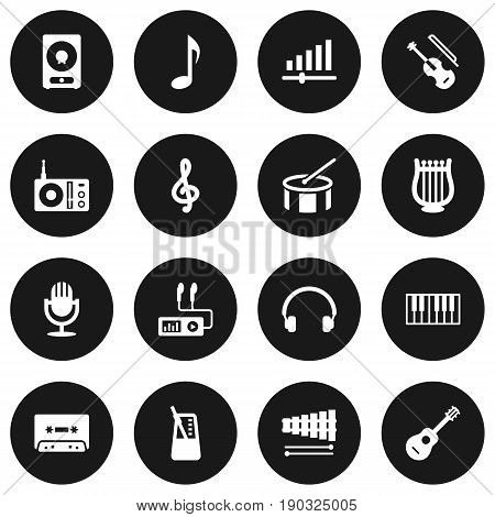 Set Of 16 Song Icons Set.Collection Of Audio Device, Earphones, Knob And Other Elements.