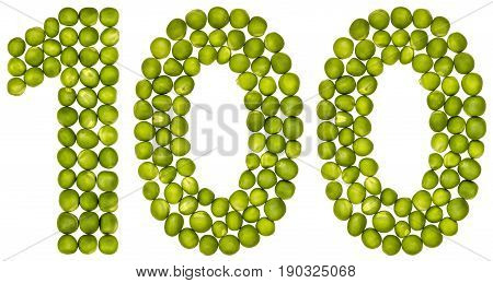 Arabic Numeral 100, One Hundred, From Green Peas, Isolated On White Background