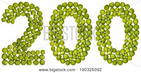 Arabic Numeral 200, Two Hundred, From Green Peas, Isolated On White Background