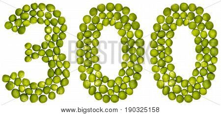 Arabic Numeral 300, Three Hundred, From Green Peas, Isolated On White Background