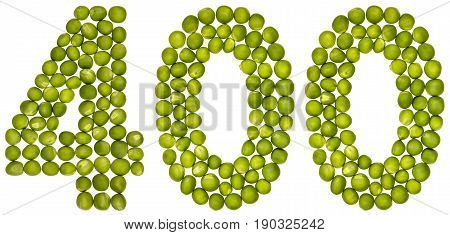 Arabic Numeral 400, Four Hundred, From Green Peas, Isolated On White Background