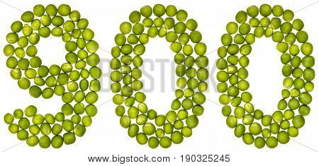 Arabic Numeral 900, Nine Hundred, From Green Peas, Isolated On White Background