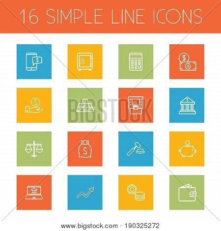 Set Of 16 Finance Outline Icons Set.Collection Of Atm, Calculator, Dollar And Other Elements.