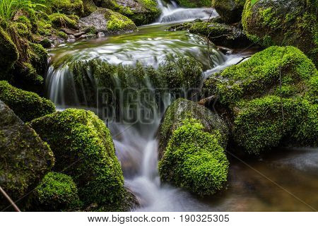 landscape, a small waterfall on a mountain river, Wallpaper, green