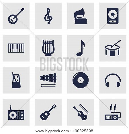 Set Of 16 Music Icons Set.Collection Of Audio Device, Turntable, Rhythm Motion And Other Elements.