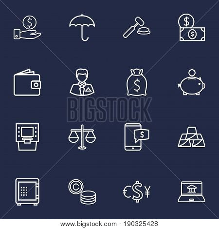 Set Of 16 Budget Outline Icons Set.Collection Of Dollar, Money Box, Atm And Other Elements.