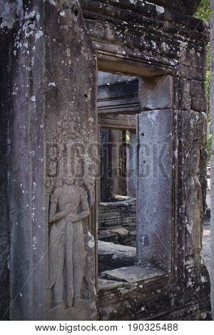 Window sculpture details in Bayon Temple Cambodia.