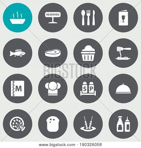Set Of 16 Cafe Icons Set.Collection Of Book, Silverware, Catsup And Other Elements.