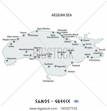 Island Of Samos In Greece White Map Illustration