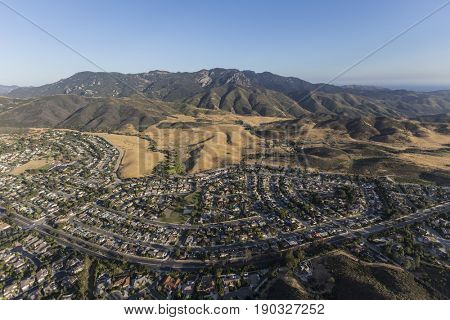 Aerial view of Mt Boney, Santa Monica Mountains National Recreation Area and Newbury Park neighborhoods in Ventura County California.