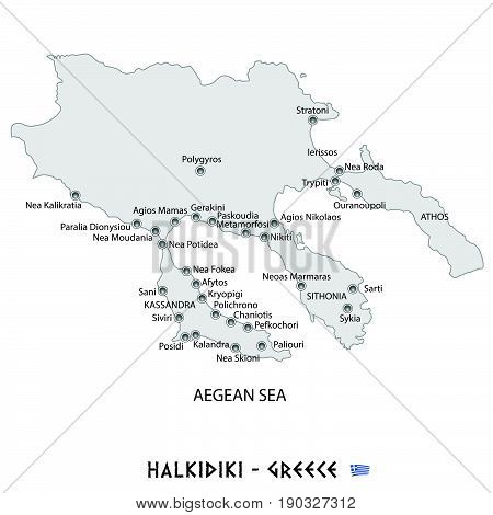 Peninsula Of Halkidiki In Greece White Map Illustration