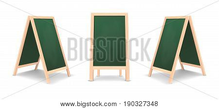 Realistic special menu announcement board icon set. Vector clean restaurant outdoor green board background. Mockup of chalkboard for restaurant menu, isolated on white background. Design template in front and side view. EPS10 illustration.