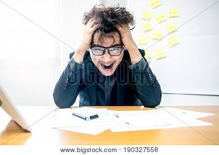 busy and headache person unsuccessful businessman, crazy and fail