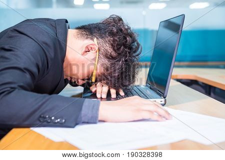 busy and headache person, unsuccessful businessman tried